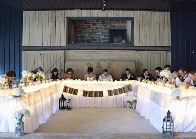 bridal party head table at Seven T Farms St louis area wedding venue in Sullivan Missouri
