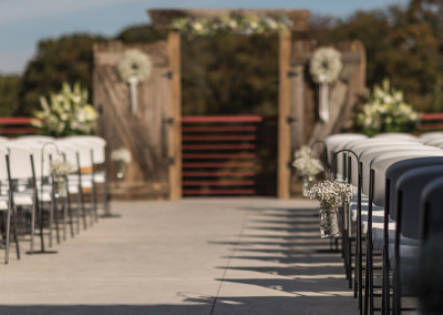 barnwood doors altar at Seven T Farms outdoor st louis area wedding venue in sullivan missouri