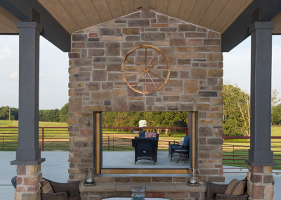 patio fireplace at Seven T Farms outdoor st louis area wedding venue in sullivan missouri