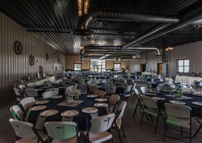 reception tables at Seven T Farms outdoor st louis area wedding venue in sullivan missouri