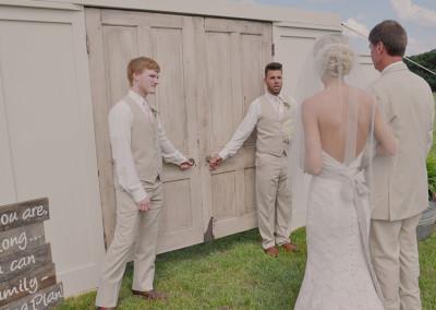 bride and father walking down aisle at Seven T Farms outdoor st louis area wedding venue in sullivan missouri